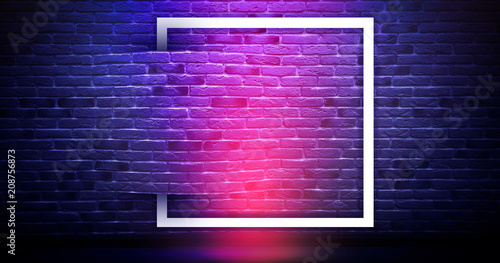 Deurstickers Baksteen muur Brick wall background, neon light