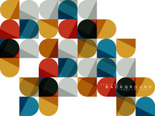Round Square Geometric Shapes On White, Tile Mosaic Abstract Background