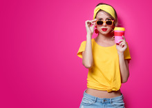 Girl In Sunglasses And Yellow ...
