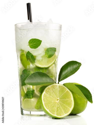 Fotobehang Cocktail Mojito mit weissem Rohrzucker