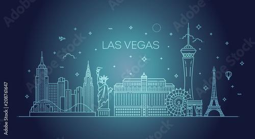 Fényképezés  Las Vegas skyline with panorama in white background
