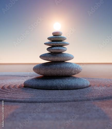 Foto op Plexiglas Stenen in het Zand Steinturm mit Sonne im Hochformat