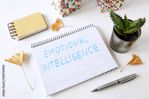 Fotografie, Obraz  emotional intelligence written in a notebook on white table