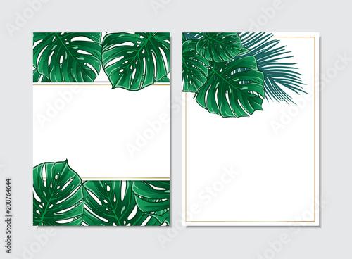 Template Frames Set Vertical Letter Layout Exotic Tropical Jungle