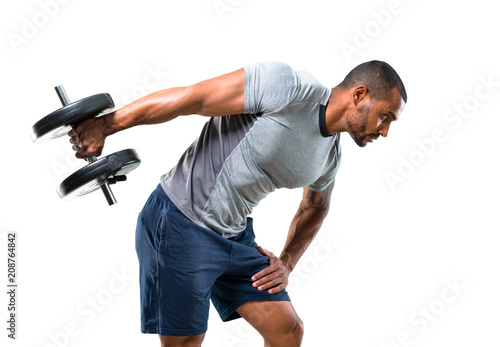 Strong handsome sport man making weightlifting and exercising the triceps on isolated white background