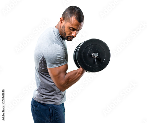 Strong handsome sport man making weightlifting on isolated white background