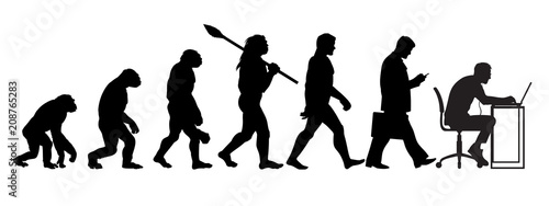Silhouette of theory of evolution of man Canvas