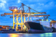 Leinwandbild Motiv Industrial logistic shipping import and export, Crane loading contrainer in the shipping port