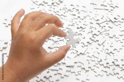 Fotografie, Obraz  散らかったパズルとパズルのピース