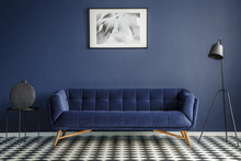 Navy Blue Room Interior With C...