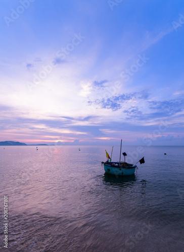 Fotobehang Purper beautiful sky and local boats