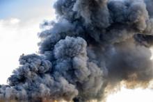 Huge Black Smoke Cloud From Fire