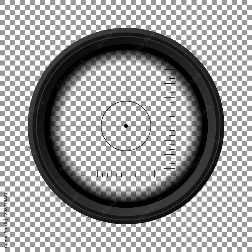 Fototapety, obrazy: Sniper rifle scope. Military weapon view. Template of optical glass. Target concept. Vector illustration
