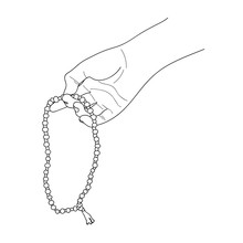 Prayer Beads In A Hand. Counting In Tasbih. Japa Mala Meditation. Contour Drawing. Vector Illustration.