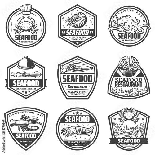 Photo  Vintage Monochrome Seafood Labels Set