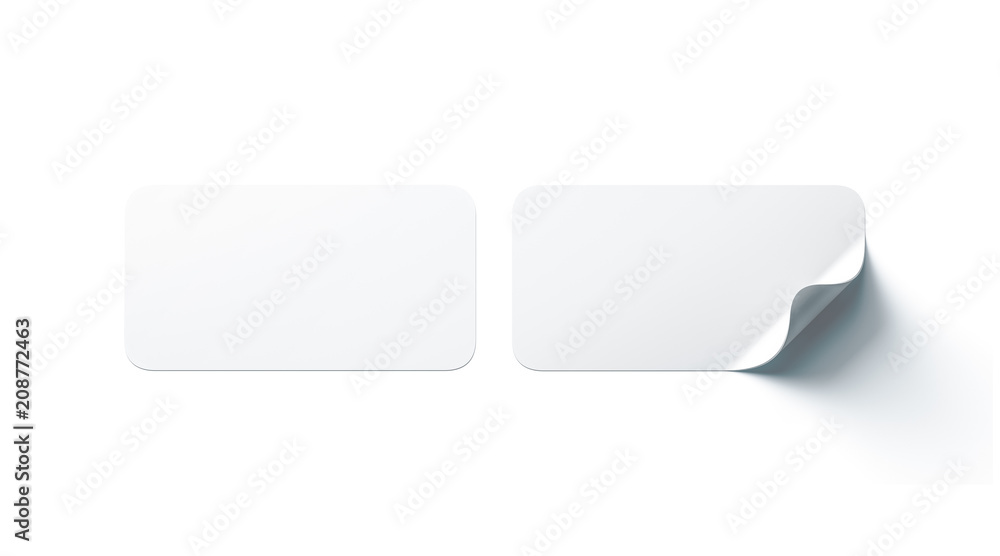 Fototapeta Blank white rectangle adhesive stickers mock up with curved corner, 3d rendering. Empty oblong sticky label mockup with curl. Clear adherent tag template for glass door or wall.