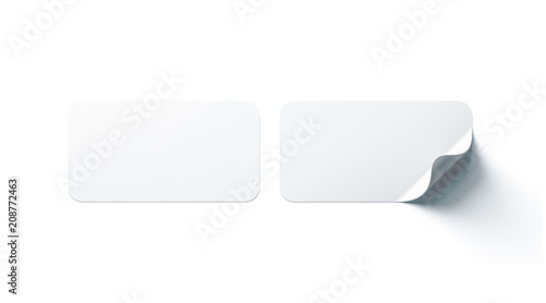 Blank white rectangle adhesive stickers mock up with curved