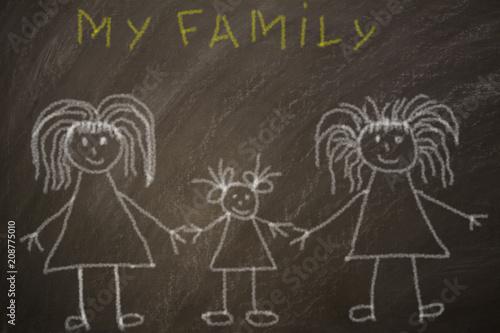 Fotografía  dibujo de una familia lesbiana en una pizarra