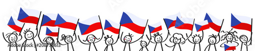 Photo  Cheering crowd of happy stick figures with Czech national flags, smiling Czech R