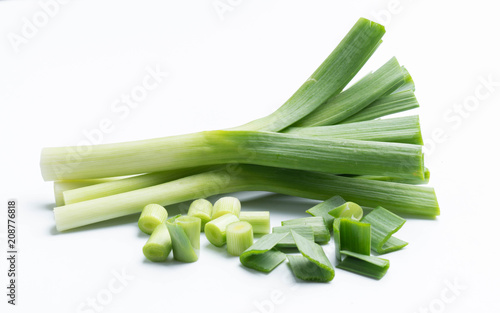 young-green garlic isolated on white