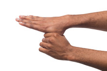 Black Male Hands Isolated On White