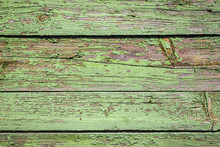 Old Shabby Wooden Background With Flaking Green Paint