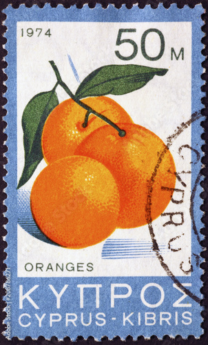 Fotobehang Cyprus Oranges on postage stamp of Cyprus