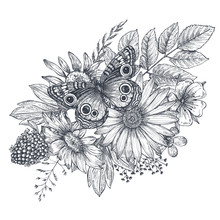 Wreath With Hand Drawn Flowers...