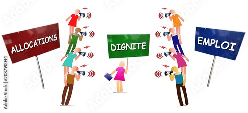 Débat entre militants opposés Allocations vs Emploi arbitré par Dignité au centre Canvas Print