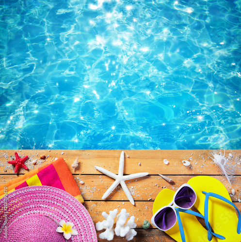 Summer Vacation - Beach Accessories With Pool background