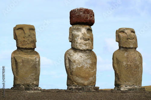 Poster Historisch mon. Three of fifteen huge Moai statues of Ahu Tongariki on Easter Island, Chile, South America