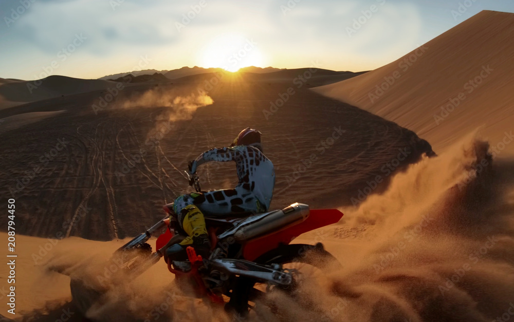 Fototapety, obrazy: Shot of the Professional Motocross Rider Riding on His Motorcycle on the Extreme Off-Road Terrain Track.