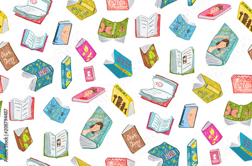 mata magnetyczna Colorful seamless background of hand drawn books covers illustration.