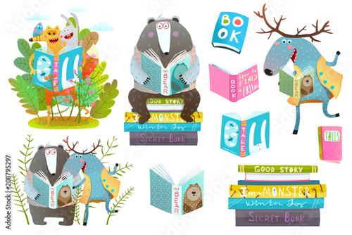 Naklejka premium Śliczne zwierzęta leśne przyjaciele z książek studiujących. Ilustracji wektorowych.