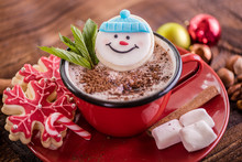 Christmas Concept Snowman Cookie In Hot Cocoa Chocolate Red Mug