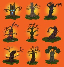 Halloween Tree Vector Scary Character Treetops Of Horror In Spooky Forest Illustration Set Of Forestry Wood Evil Monster Of Nightmare Isolated On Background