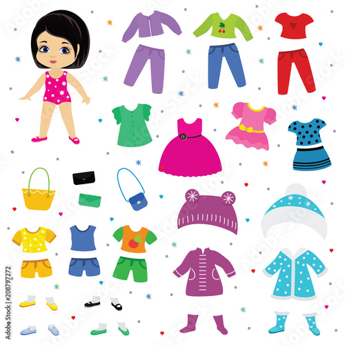 Paper doll vector dress up or clothing beautiful girl with fashion pants dresses Canvas Print