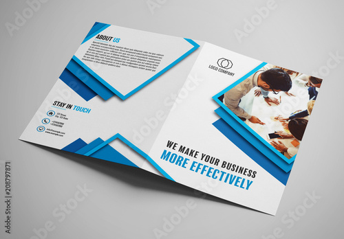 bifold brochure layout with blue borders buy this stock template