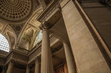 Pantheon Inside View With High Ceiling, Columns, Statues And Paintings Richly Decorated In Paris. Known As One Of The Most Impressive World's Cultural Center. Northern France.