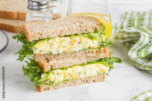 Egg salad sandwich, greens, lettuce, delicious healthy Breakfast