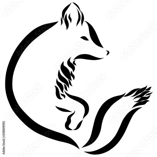 A Fox Or A Dog A Symbol Drawn In Black Smooth Lines Buy This