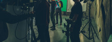 Actor In Studio Posing On Gree...