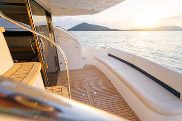 Luxury traveling. Interior of modern motor yacht.