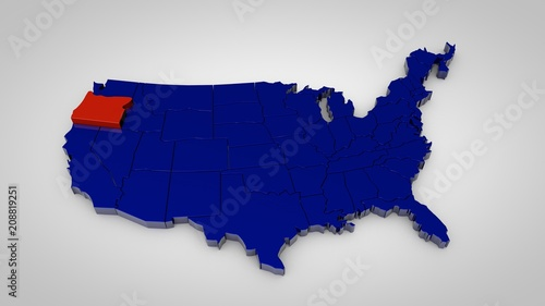 usa map with oregon map highlited 3d render - Buy this stock ...