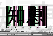Modern Art Illustration In The Style Of Failure. One Work From The Series (1 Of 9) This Is Something That Does Not Buy For Money. Barcode And Inscription Wisdom With Japanese Hieroglyphs. Vector Art