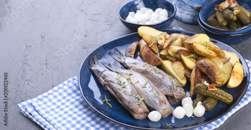 Herring fillets on a plate, baked in the oven potatoes and pickled cucumbers and onions Canvas Print