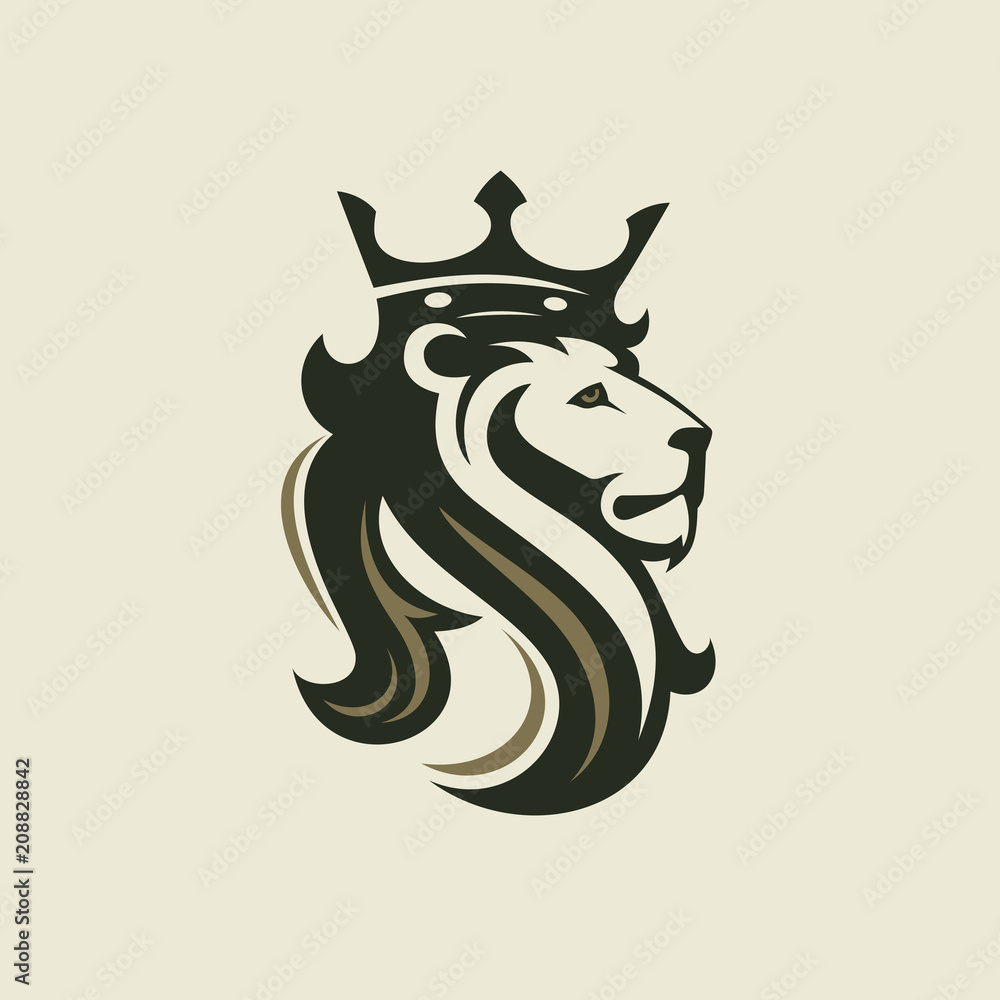 Fototapeta The head of a lion with a royal crown