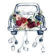 canvas print picture - Watercolor hand painted wedding romantic illustration on white background - vintage navy color car with cans & flower floral bouquet composition. Just Married! Peonies, anemones, roses, leaves.