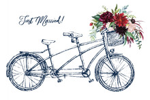 Watercolor Hand Painted Romantic Illustration On White Background - Vintage Wedding Tandem Bicycle With Basket Of Flowers. Floral Bouquet Composition. Just Married! Peonies, Anemones, Roses, Leaves.