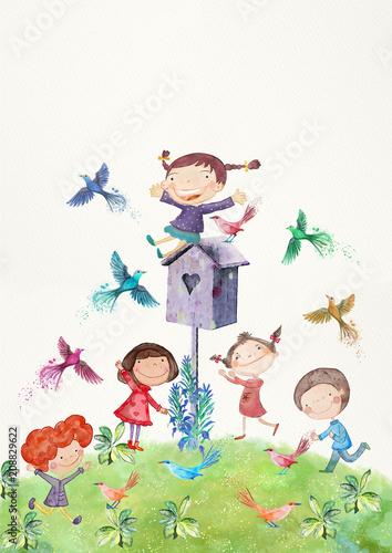 szczesliwe-dzieci-z-ptakami-akwarela